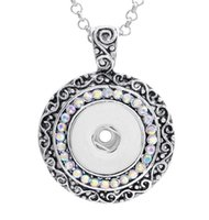 Wholesale 18k Gold Jewerly - 18mm NOOSA Ginger Snap Button Pendants with Crystal Diamond Jewelry Interchangeable Necklaces Accessory Jewerly for mens women XMAS Gift