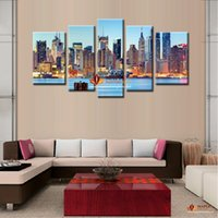 Wholesale picture painting ideas - 5 Pieces Canvas Painting Ideas City Night Art Pictures Landscape New York Oil Painting Print On Canvas Modern Home Decor Paintings