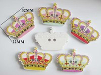 Wholesale Sewing Buttons Crown - WBNSLE 100pcs Charm craft buttons Brand 2 holes sewing accessory 50pcs lot 22MM*32MM Crown Botones scrapbooking
