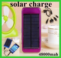 Wholesale Ipad Travel Battery - Dual USB Charging Ports 5V 2.1A 1.5W Solar Panel Charger 48000mAh Travel Power Pack Battery power bank for iPhone Samsung HTC ipad