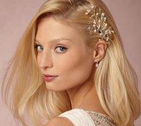 gelin saç aksesuarları tiaras toptan satış-Gelin Saç Aksesuarları Tiaras Saç Pins lady Doğal Inciler Fascinators Gelin Düğün Çiçek 2018 Kristal Kafa Saç Klip Pimleri
