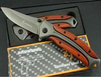 охотничьи ножи для продажи оптовых-Горячие Продажи Браунинг DA58 складной нож 3Cr13Mov Лезвие Розовое дерево Ручка открытый охотничьи инструменты боевые ножи