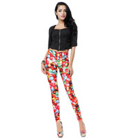Wholesale Strawberry Beauty - 151206 Newest Beauty Women Seamless SexyTattoo Strawberry Printed Pant Stretchy Tight Digital Skinny long Pants Quality first