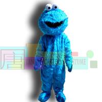 fantasia azul vestidos venda por atacado-Gergelim rua azul cookie monstro traje da mascote fancy dress adulto tamanho halloween