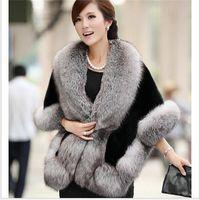 Wholesale Fur Coats Long Minks Sale - Wholesale-Hot Sale 2016 New Fashion Long mink Fur Coat Faux Fox Fur Coat Cardigan shawl Poncho luxury Fur vest Women Scarves Free shipping