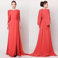 Wholesale Hunter Green Satin Women Robes - Middle East Women Formal Evening Dresses with Cape Crew A-line Court Train Coral Arabic Kaftan Side Slit Robe De Soiree Embroidery