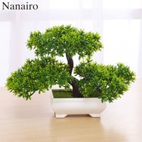 Wholesale welcome home decorations - 1pcs Artificial Bonsai Tree Welcoming Plant Potted Bonsai Fake Mini Flower Green Plant Pine Pot Vase Wedding Home Decoration