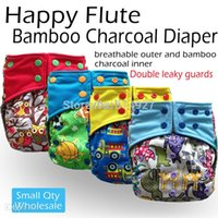 Wholesale Diaper Guard - Wholesale-Happy flute onesize bamboo charcoal cloth diaper,double leaking guards, bamboo charcoal inner lining, fit 3-15kg,without inserts