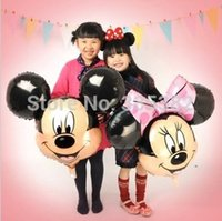 Wholesale Mouse Pas - wholesale 50pcs lot big size Minnie and mickey mouse head foil balloons helium cartoon balloons for party free shipping