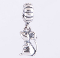 Wholesale Chinese Pandora Charms - CHINESE RAT DANGLE CHARM DIY Beads Solid 925 Silver Not Plated Fits Pandora Bracelet&Charms