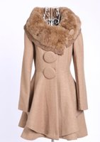 Wholesale Warm Elegant Wool Coats - Faux Fur Collar Women Coat Woolen Winter Warm Jackets Long Sleeve Elegant Big Button Rivet Long Overcoat Bubblekiss