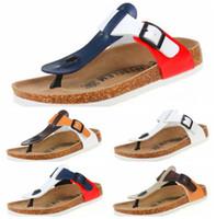 Wholesale Cork Flats - wholesale 5 color summer woman men flats sandals Cork slippers unisex casual shoes print mixed colors flip flop size 35-43