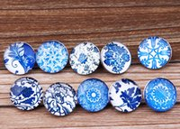 Wholesale leather flower rings - JACK88 60pcs lot Mix Styles Glass Snap Button Blue and White porcelain 18 mm Snaps Fit Ginger Snap Charm Bracelet Jewelry N821