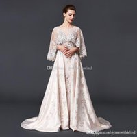 Wholesale Long White Rice - model pictures vintage high neck rice white chiffon cape sleeves vintage wrap evening dresses 2018 heavily embroidery crystals beaded
