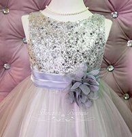 bead flower mesh Australia - 2018 Hot Sale Vestido Daminha Casamento Flower Girl Dress Silver grey Sequin Mesh Toddler Wedding Special Occasion (ets0155sv)