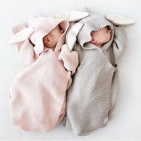 кролик детское одеяло оптовых-Новорожденный ребенок одеяло вязать спальный мешок кроличьи уши с капюшоном 2017 Ins материнства новорожденного обернуть мешок прекрасный стиль свободный стиль 0-6months