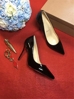 Wholesale Womens Shoes Leather Pumps - 2017 Ladies Nude Patent Khaki CL Christians Multicolored Glitter LouboutiedRed soled shoes Womens Pigalle 100mm Black Patent Heels With Box