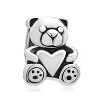 Wholesale holiday teddy bears - Big hole beads Teddy bear holding heart love lucky European spacer bead metal charm bracelets Pandora Chamilia Compatible