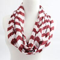 Wholesale Chevron Polyester Infinity Scarf - New Fall Chevron Infinity Scarf Girls Cotton Infinity Scarf , Women Adult Zig Zag Scarf 5 pcs   lot