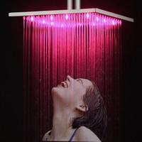 многоцветная душевая головка оптовых-Свечение воды светодиодные смесители для душа головки Multi изменение цвета изменение потолка дождь душ для ванной аксессуары