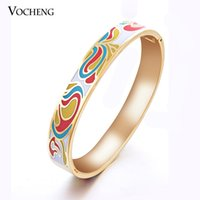 Wholesale Colorful Gold Plated Bangles - Wholesale 10mm Wide Colorful Cuff Enamel Bangle 18k Gold Plated Wristband Jewelry (VG-248) Vocheng Jewelry