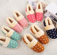 Wholesale Cotton Padded Slippers - New Winter Warm Men&Women Super Warm thick outsole dot Cotton-padded Lovers at Home Slippers indoor shoes