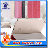 Wholesale Protecting Case Tablet Leather - 3 Folded PU Leather Cover Protect Case For Full Protect Skin Luxury Silk Stand Tablet Case For Ipad Air 2 Ipad 6