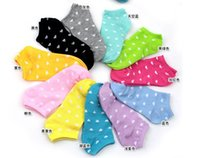 Wholesale Mouth Candy - Wholesale-Free shipping 10pair lot Creative Korean candy color cotton socks shallow mouth ms sport socks
