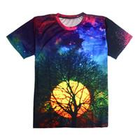 ingrosso caldo uomini v tshirt-FG1509 Hot fashion Nuove donne / uomini moon tshirt albero Divertente 3D maglietta corta galaxy T-Shirt 3d top tee t shirt spedizione gratuita