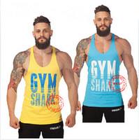 Wholesale Boys Sleeveless Undershirts - Fitness Brand 2014 cotton shark gym tank top men Sleeveless tops for boys bodybuilding clothing Sport undershirt wholesale vest