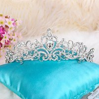 Wholesale Crowns Pageants Beauty - High Quality Big Wedding Tiara Bridal Crystal Veil Crown Headband Hairwear Beauty Pageant Crown Headpiece Free Shipping Ready to Ship