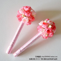 Wholesale Signing Pens - Wholesale-Free Shipping For Min Order $15 2015 Wholesale Pink flower ball sign pen wedding signature pen married sign pen solventborne