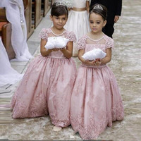 Wholesale Cheap Big Girl Wedding Dresses - Custom Made Pink Lace Wedding Flower Girl Dresses With Short Sleeves Backless Big Bow 2016 Cheap Summer Little Girls Princess Ball Gowns