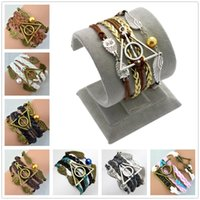 Wholesale Harry Potter Leather Bracelets - Wholesale-2016 New Multilayer Braided Bracelets, Vintage Owl Harry Potter wings infinity bracelet, Multicolor woven leather bracelet &