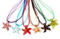 Wholesale Glass Starfish Necklace - 2016 New Fashion Handmade Gold Foil Starfish Animal Murano Glass pendant necklace Handmade Jewelry Wholesale Lots Colorful 6Mix Color