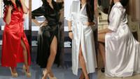 Wholesale Lingerie Babydoll Silk - w1031 New 2015 Womens Long Black Sexy Silk Kimono Dressing Gown Bath Robe Babydoll Lingerie Nightdress free shipping