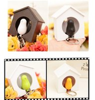 Wholesale Cute Sparrow Key Ring - Fashion plastic sparrow key ring cute bird house key holder plastic Whistle bird keychain Wall Hook Holders Plastic Whistle E451L
