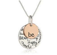 Wholesale Stamp Pendant Silver - Fashion rose gold plated Pendant Necklace hand stamped Be Happy Necklace Cute coin Engraved necklace for women girl jewelry