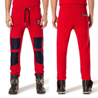 Wholesale Cotton Leisure Trousers - Men Sportswear Bottom Sweatpants With Leather Splice On Knees Long Sleeve Active Jogging Trousers Man Leisure Design