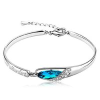 Venda quente New Fashion Women Silver Plated Crystal Chain Bangle Cuff Charm Bracelet Jewelry