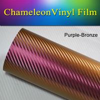 Wholesale Vehicle Wrap Bubbles - 1.52x30m(5x98FT) Vehicle vinyl wrap roll Purple-Bronze chameleon carbon fiber Vinyl Wrap Decal Film stretch air bubble free