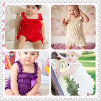 Wholesale Baby Girl Petti Lace Dress - 10%off 2pcs dress+2pcs 2015 NEW hairband,Cute Petti Baby Girl Lace Romper with Straps and Ribbon Bow Jumpsuit Infant baby clothing 2set 4pcs