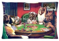 Wholesale Dogs Playing Poker - Cool Pillowcase Kelly Poker Dog Playing Cards Style Pillow Case (Twin Sides)(20x30 Inch)