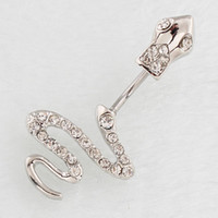Novo Sexy Silver Crystal Snake Navel Belly Button Barbell Ring Mulheres Body Piecing Jewelry