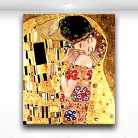 Wholesale kissing paintings - King Kiss Queen Modern Romantic Lover Picture Oil Painting Printed on Canvas for Home Living Hotel Cafe Wall Decor