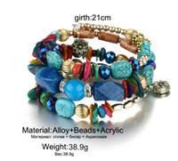 Wholesale multi strand clasps - Retro natural stone agate bracelet Lycophyta beaded bracelets multi winding bangle string of bead hand chain acc053
