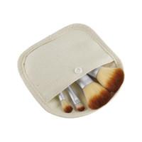 Wholesale Gunny Bags - 4PCS Bamboo Handle Makeup Brushes Cosmetics Tools Brushes Set Powder Blush Eyeshadow Brushes with Gunny Bag white