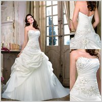 Wholesale Strapless Glamour Wedding Dresses - Best Selling 2017 Glamour A -Line Lace Up Ruffles Satin Ivory Wedding Dresses Beautiful Flare Bridal Gown