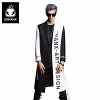лоскутное пальто оптовых-Wholesale- Genanx  Long Style Trench Coat Men Fashion Black White Patchwork Overcoat Man Winter Windbreaker Coat Size M-XXL