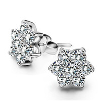 Wholesale Diamante Snowflake - Hot romantic exquisite crystal clear diamante snowflake earring girl 925 sterling jewelry